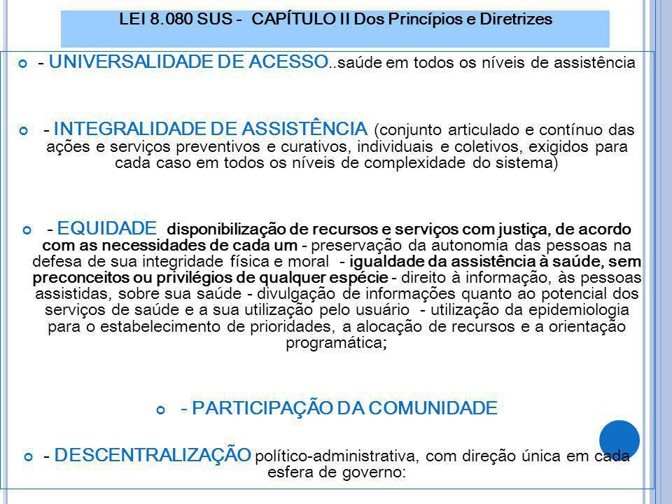 LEI 8.080 SUS - CAPÍTULO II Dos Princípios e Diretrizes