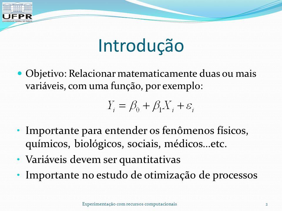 Introdução Objetivo: Relacionar matematicamente duas ou mais variáveis, com uma função, por exemplo:
