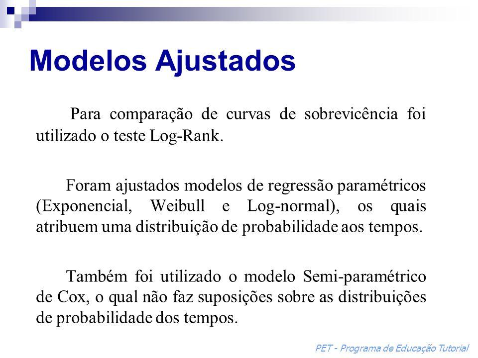 Modelos Ajustados Para comparação de curvas de sobrevicência foi utilizado o teste Log-Rank.