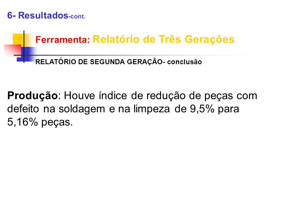 6- Resultados-cont. Ferramenta: Relatório de Três Gerações. RELATÓRIO DE SEGUNDA GERAÇÃO- conclusão.