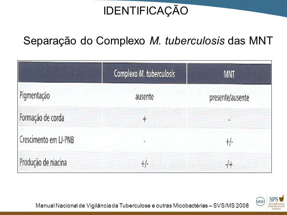 Separação do Complexo M. tuberculosis das MNT