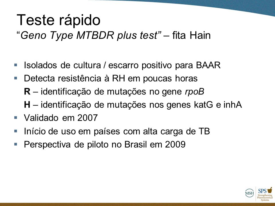 Teste rápido Geno Type MTBDR plus test – fita Hain