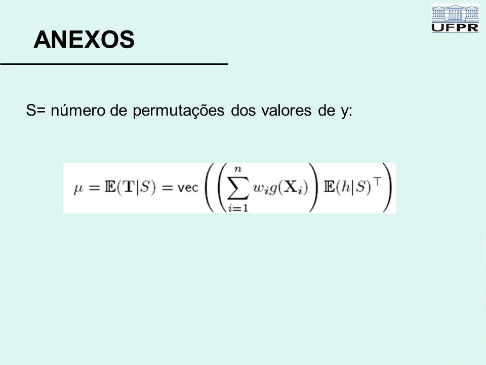 ANEXOS S= número de permutações dos valores de y: