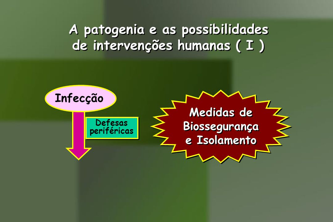A patogenia e as possibilidades de intervenções humanas ( I )