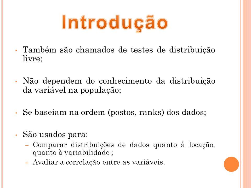 Introdução Também são chamados de testes de distribuição livre;