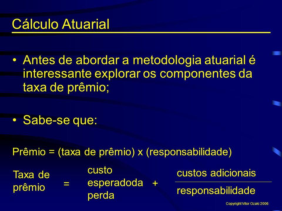 Cálculo Atuarial Antes de abordar a metodologia atuarial é interessante explorar os componentes da taxa de prêmio;