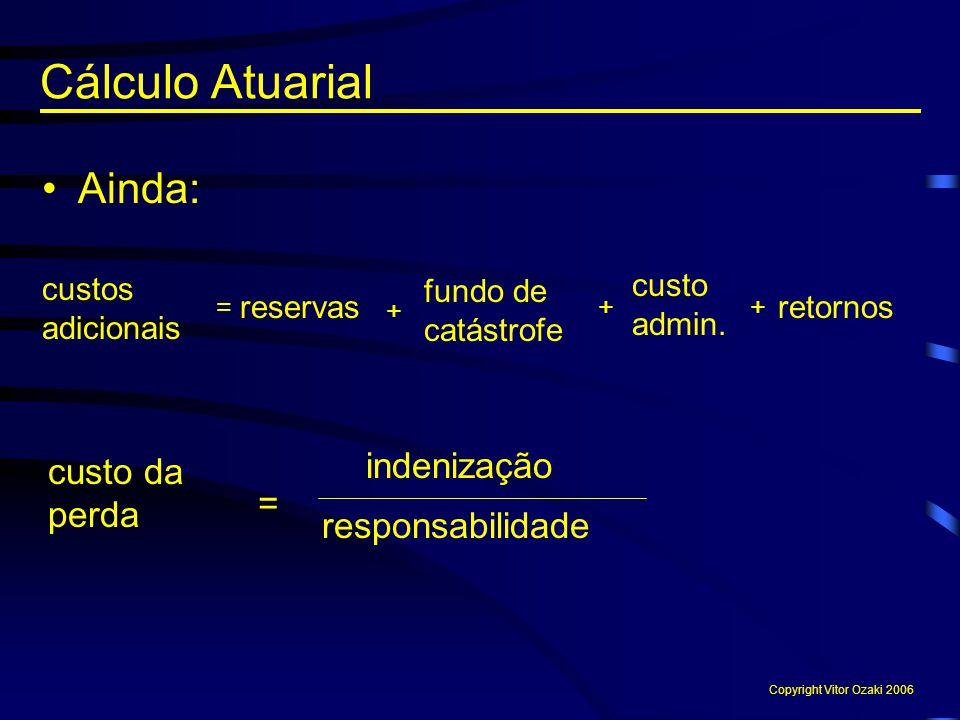 Cálculo Atuarial Ainda: indenização custo da perda = responsabilidade