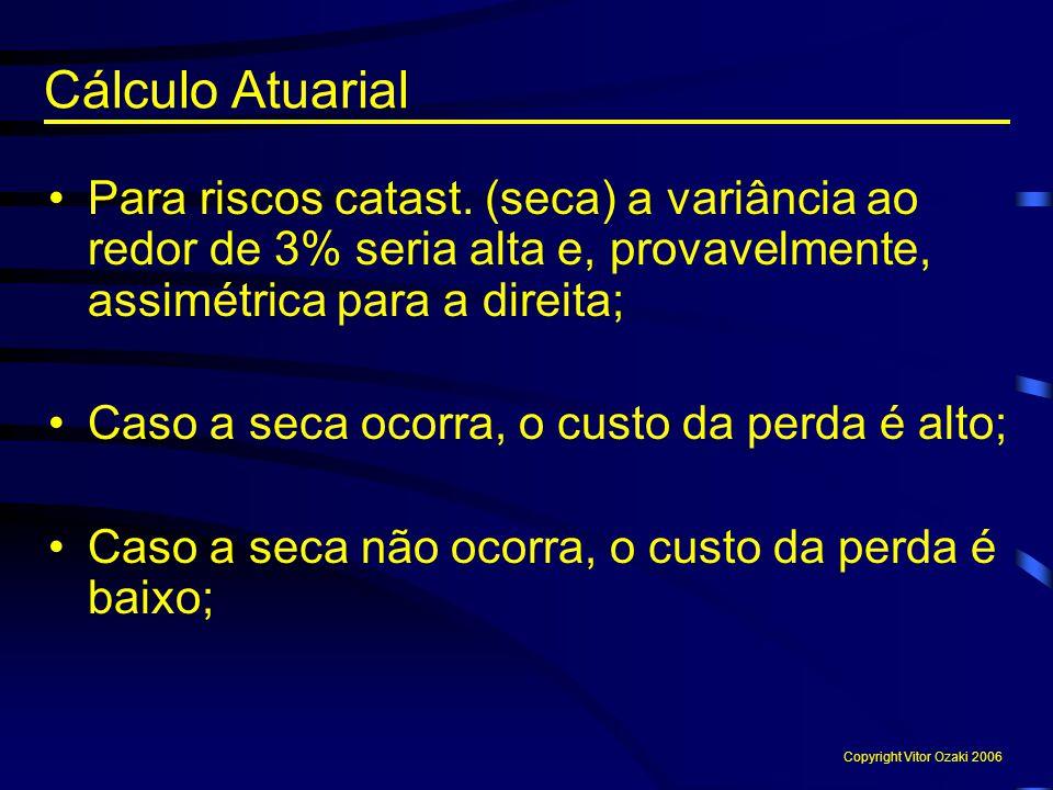 Cálculo Atuarial Para riscos catast. (seca) a variância ao redor de 3% seria alta e, provavelmente, assimétrica para a direita;