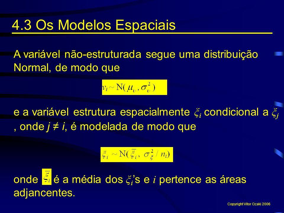 4.3 Os Modelos Espaciais A variável não-estruturada segue uma distribuição Normal, de modo que.