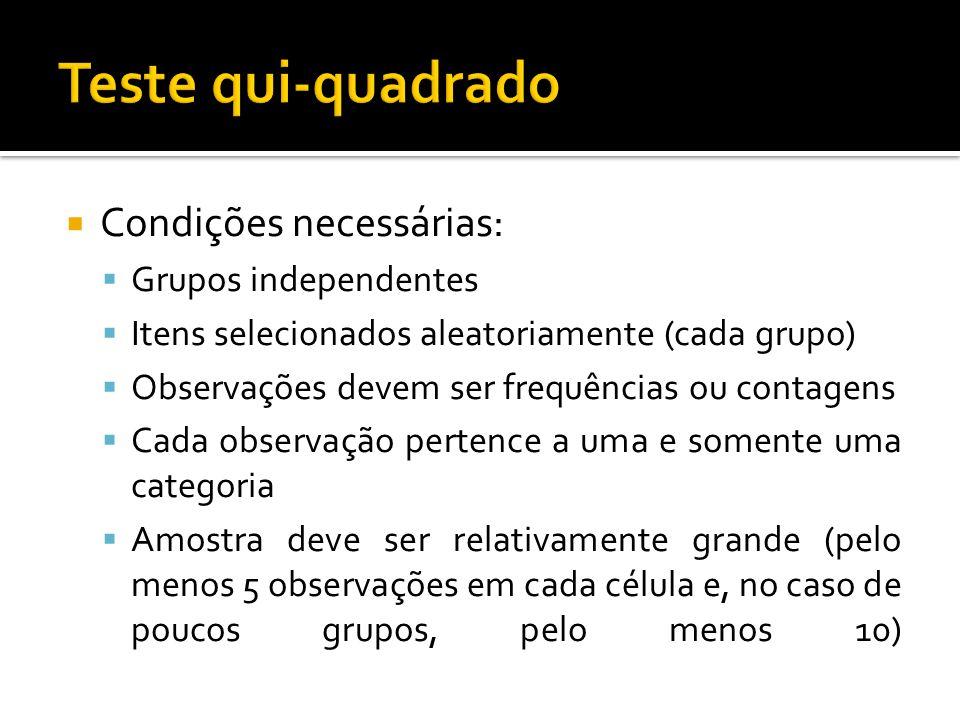 Teste qui-quadrado Condições necessárias: Grupos independentes