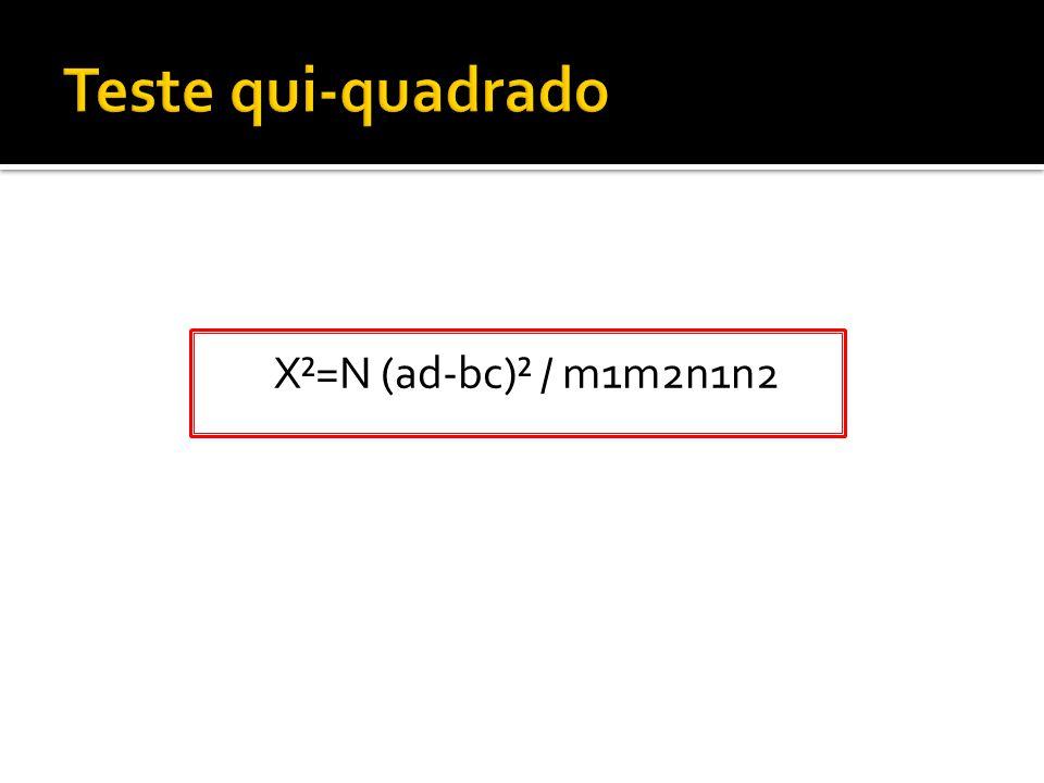 Teste qui-quadrado X²=N (ad-bc)² / m1m2n1n2