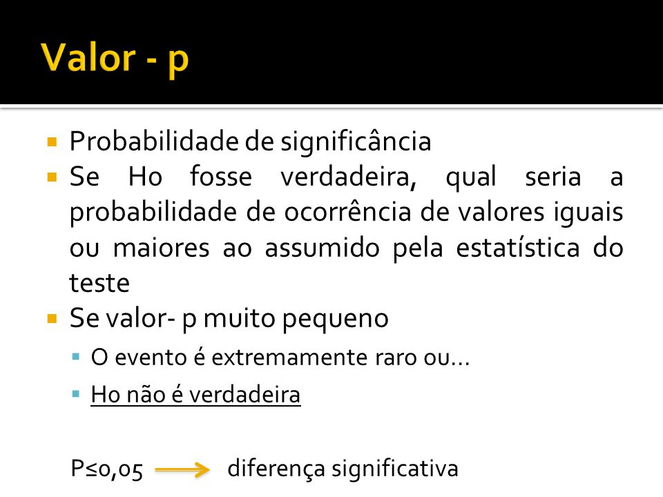 Valor - p Probabilidade de significância