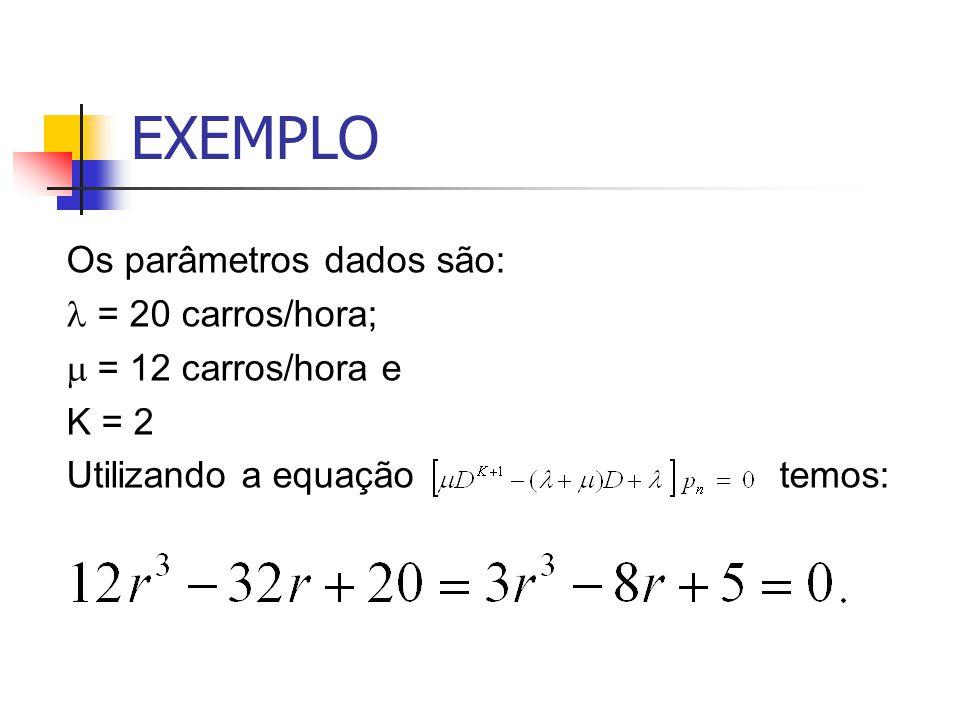 EXEMPLO Os parâmetros dados são: l = 20 carros/hora;