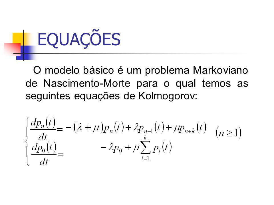 EQUAÇÕES O modelo básico é um problema Markoviano de Nascimento-Morte para o qual temos as seguintes equações de Kolmogorov: