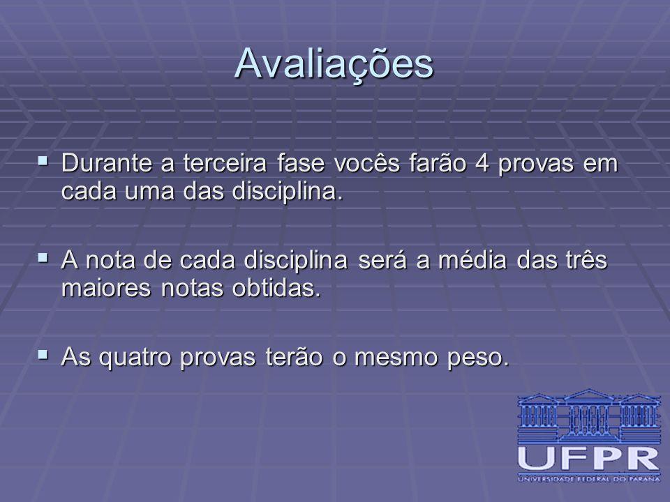 Avaliações Durante a terceira fase vocês farão 4 provas em cada uma das disciplina.