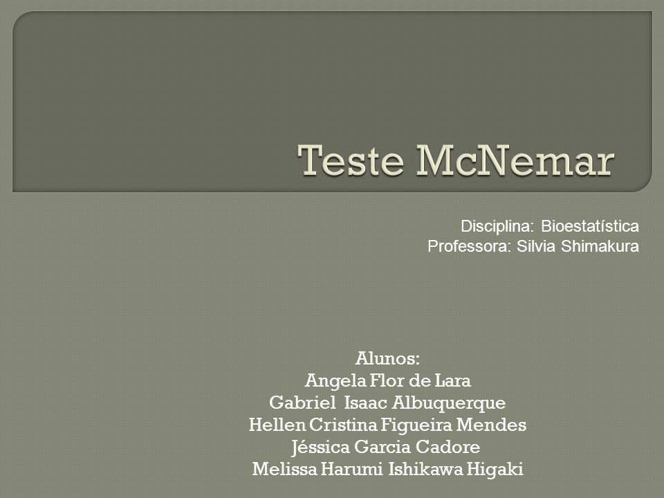 Teste McNemar Alunos: Angela Flor de Lara Gabriel Isaac Albuquerque