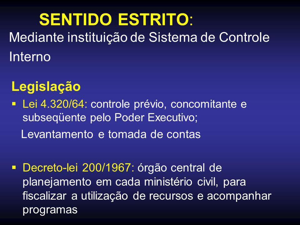 SENTIDO ESTRITO: Mediante instituição de Sistema de Controle Interno