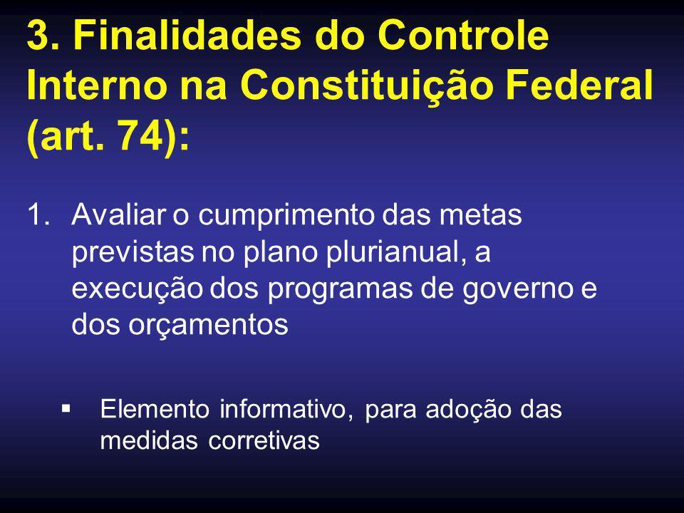 3. Finalidades do Controle Interno na Constituição Federal (art. 74):