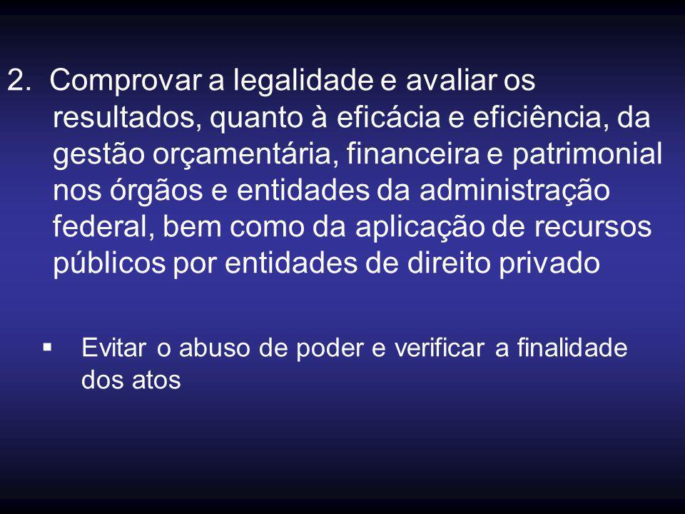 2. Comprovar a legalidade e avaliar os resultados, quanto à eficácia e eficiência, da gestão orçamentária, financeira e patrimonial nos órgãos e entidades da administração federal, bem como da aplicação de recursos públicos por entidades de direito privado