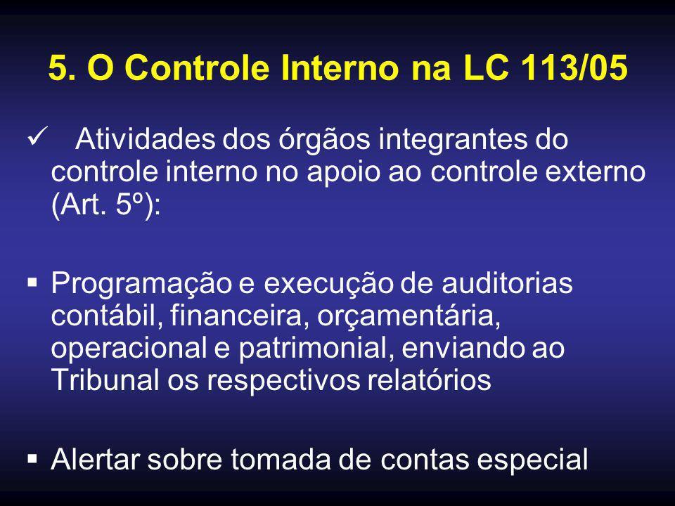 5. O Controle Interno na LC 113/05