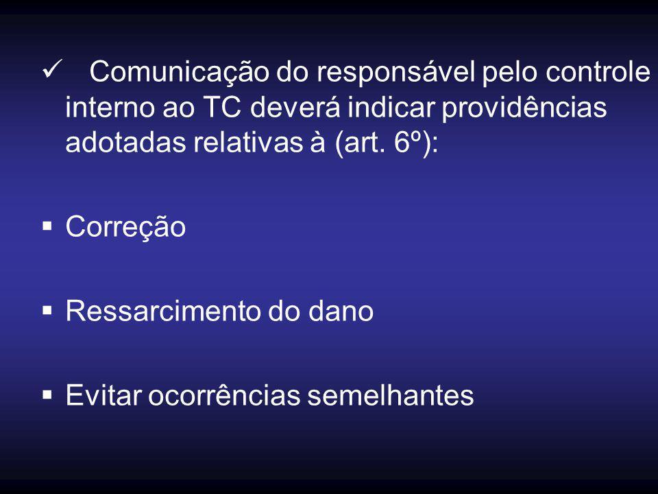 Comunicação do responsável pelo controle interno ao TC deverá indicar providências adotadas relativas à (art. 6º):