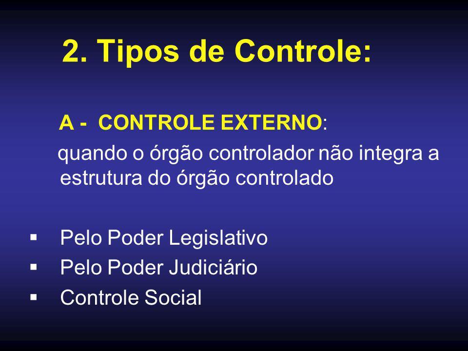 2. Tipos de Controle: A - CONTROLE EXTERNO: quando o órgão controlador não integra a estrutura do órgão controlado.