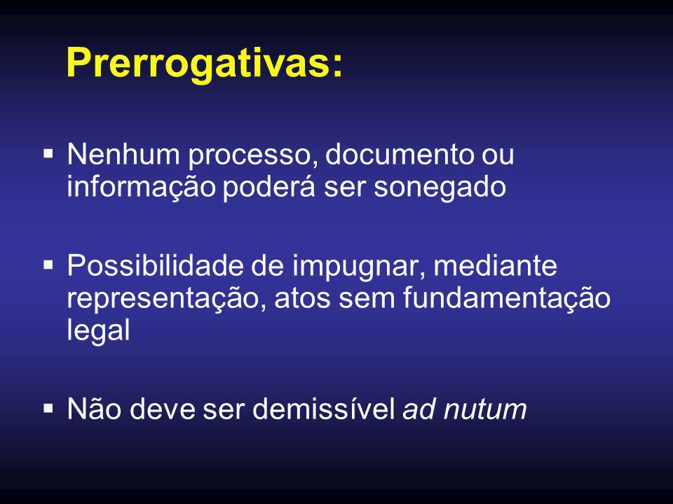 Prerrogativas: Nenhum processo, documento ou informação poderá ser sonegado.