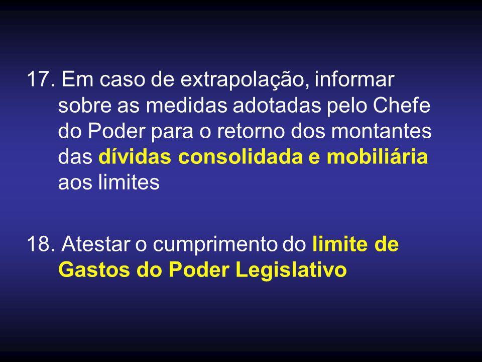 17. Em caso de extrapolação, informar sobre as medidas adotadas pelo Chefe do Poder para o retorno dos montantes das dívidas consolidada e mobiliária aos limites