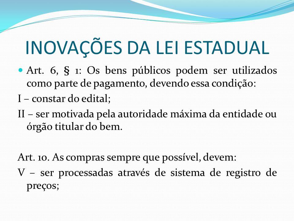 INOVAÇÕES DA LEI ESTADUAL
