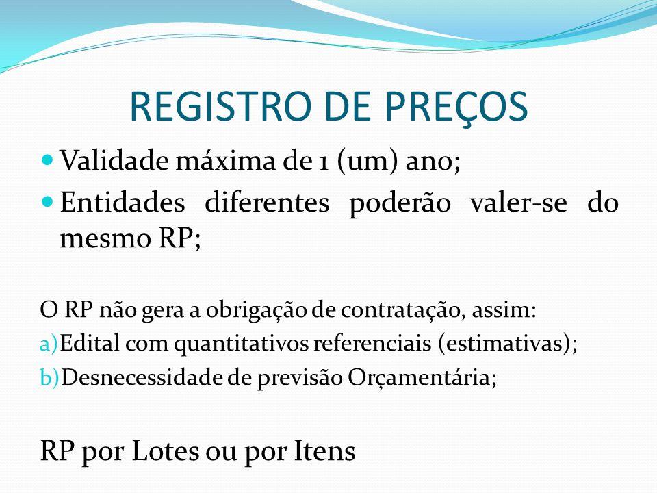 REGISTRO DE PREÇOS Validade máxima de 1 (um) ano;
