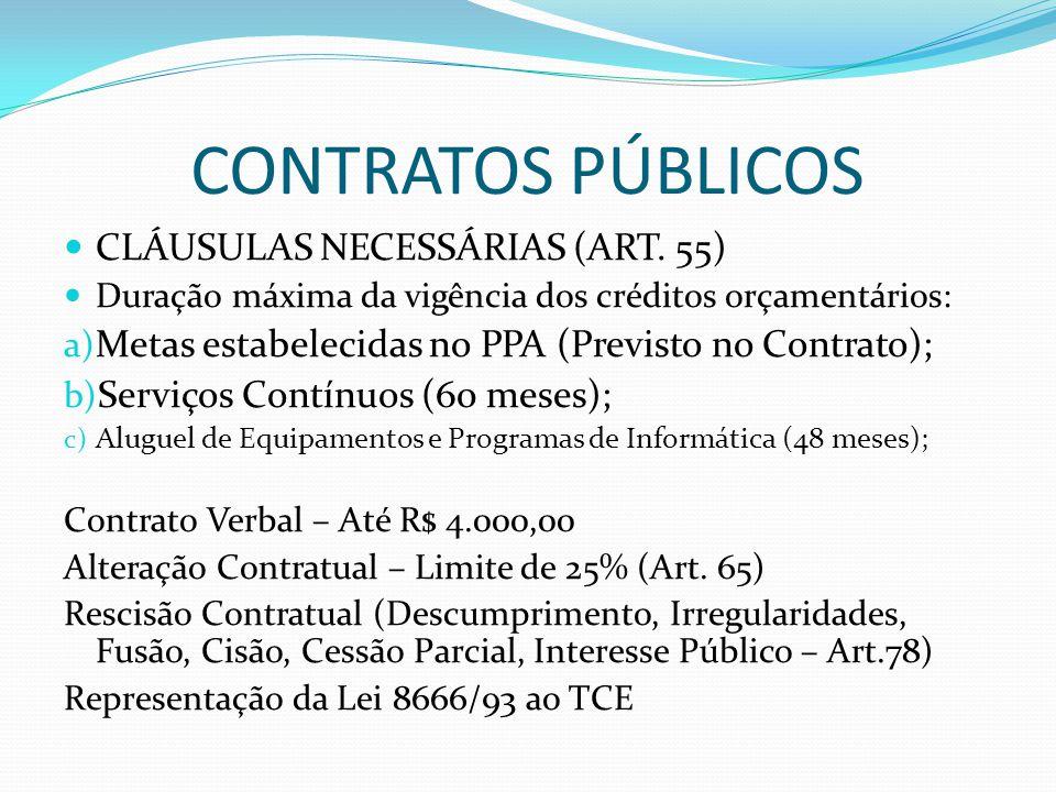 CONTRATOS PÚBLICOS CLÁUSULAS NECESSÁRIAS (ART. 55)