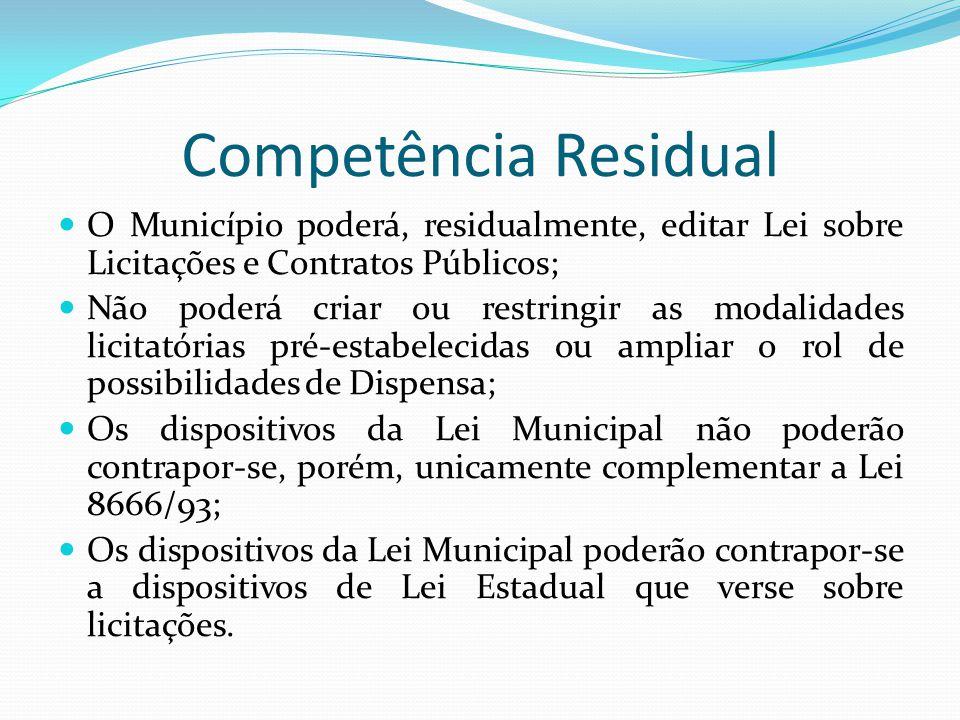 Competência Residual O Município poderá, residualmente, editar Lei sobre Licitações e Contratos Públicos;