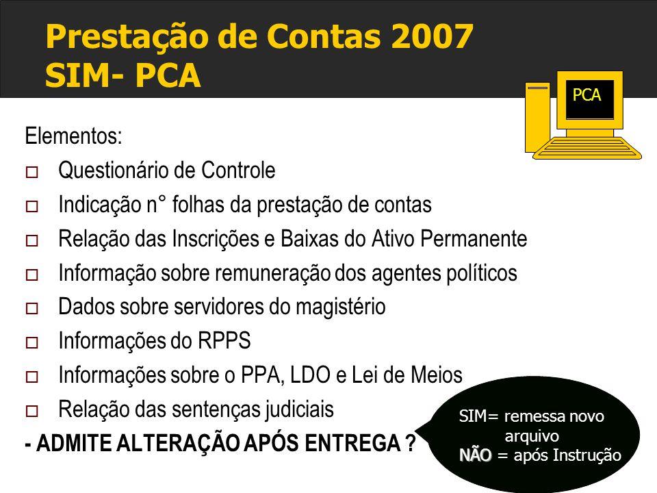 Prestação de Contas 2007 SIM- PCA