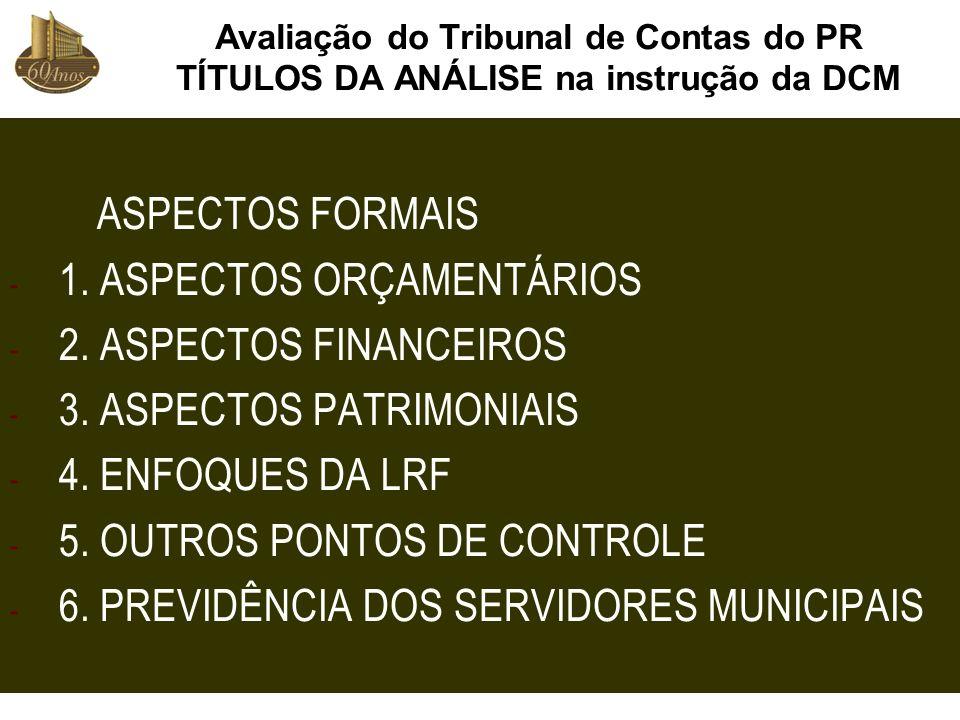 1. ASPECTOS ORÇAMENTÁRIOS 2. ASPECTOS FINANCEIROS