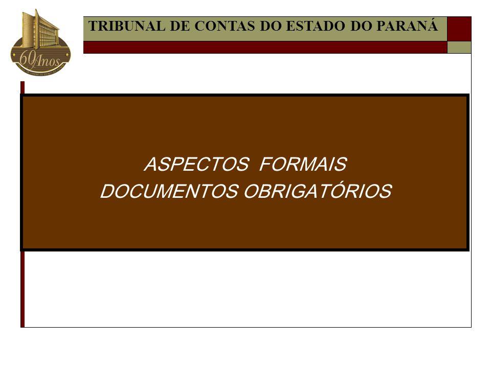 ASPECTOS FORMAIS DOCUMENTOS OBRIGATÓRIOS