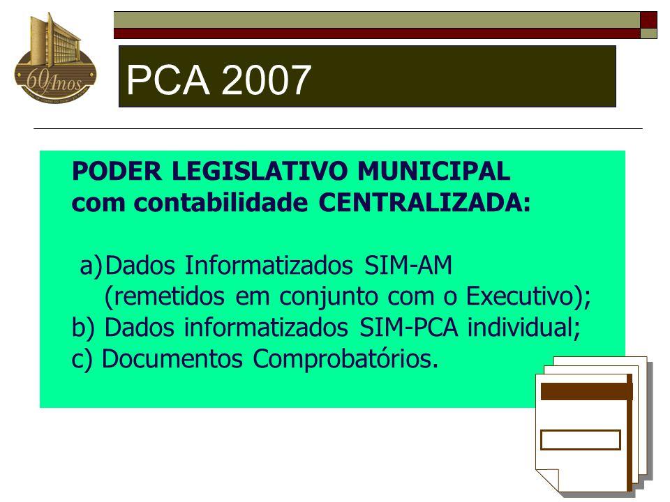 PCA 2007 PODER LEGISLATIVO MUNICIPAL com contabilidade CENTRALIZADA: