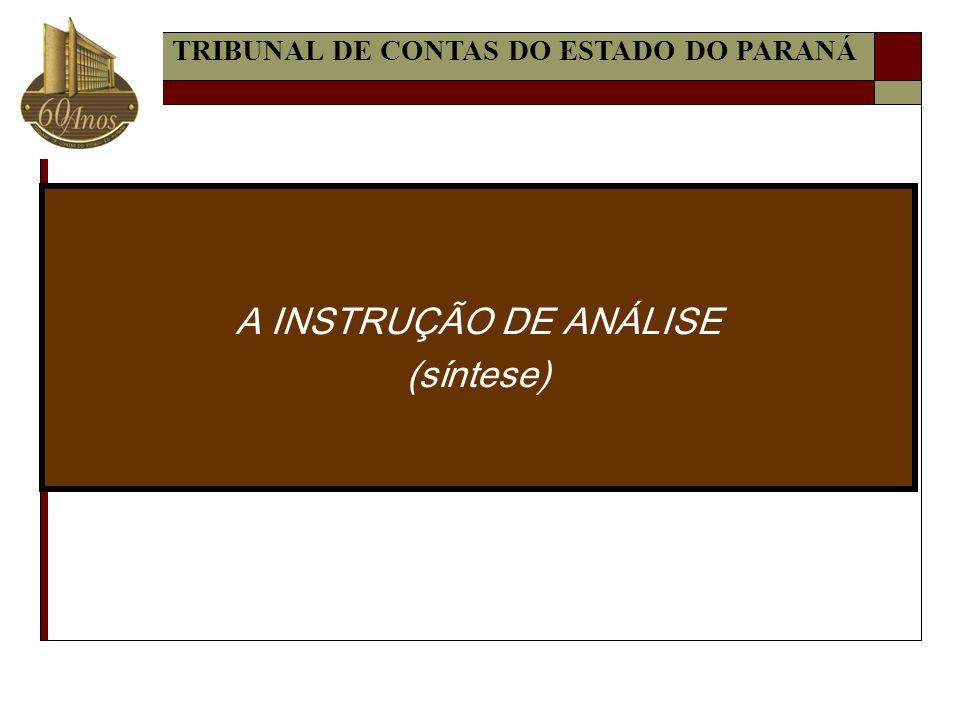 A INSTRUÇÃO DE ANÁLISE (síntese)