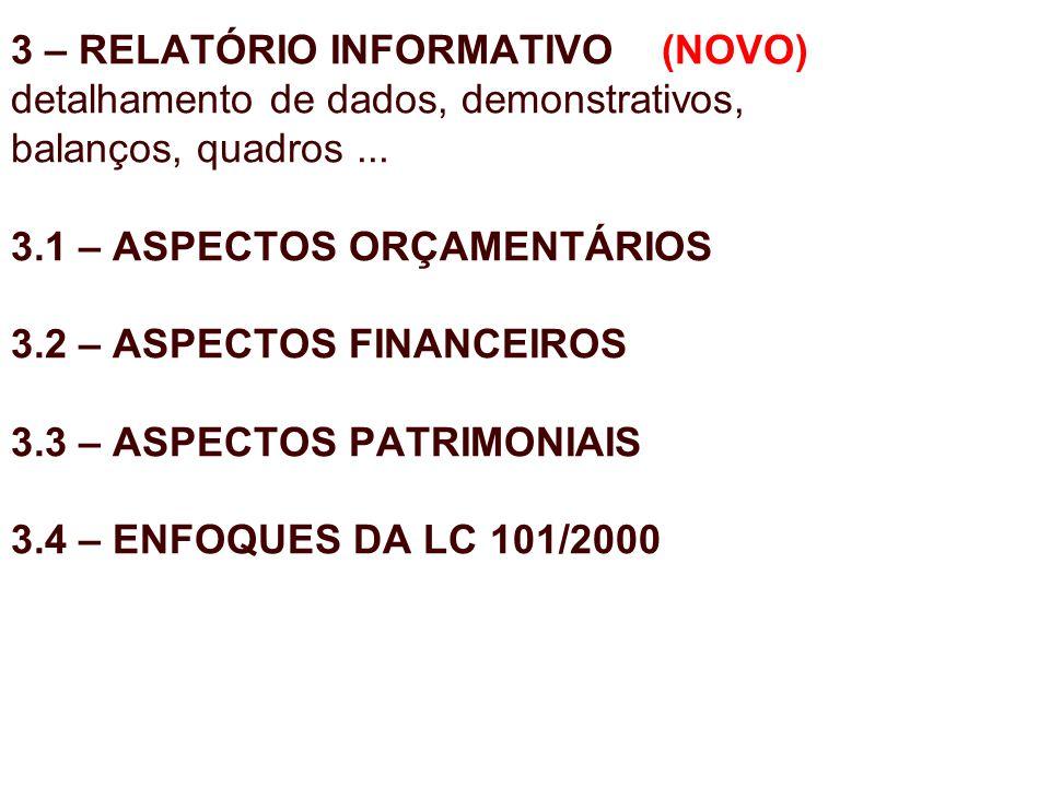 3 – RELATÓRIO INFORMATIVO (NOVO) detalhamento de dados, demonstrativos, balanços, quadros ...