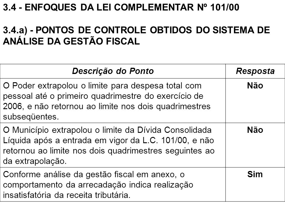 3.4 - ENFOQUES DA LEI COMPLEMENTAR Nº 101/00