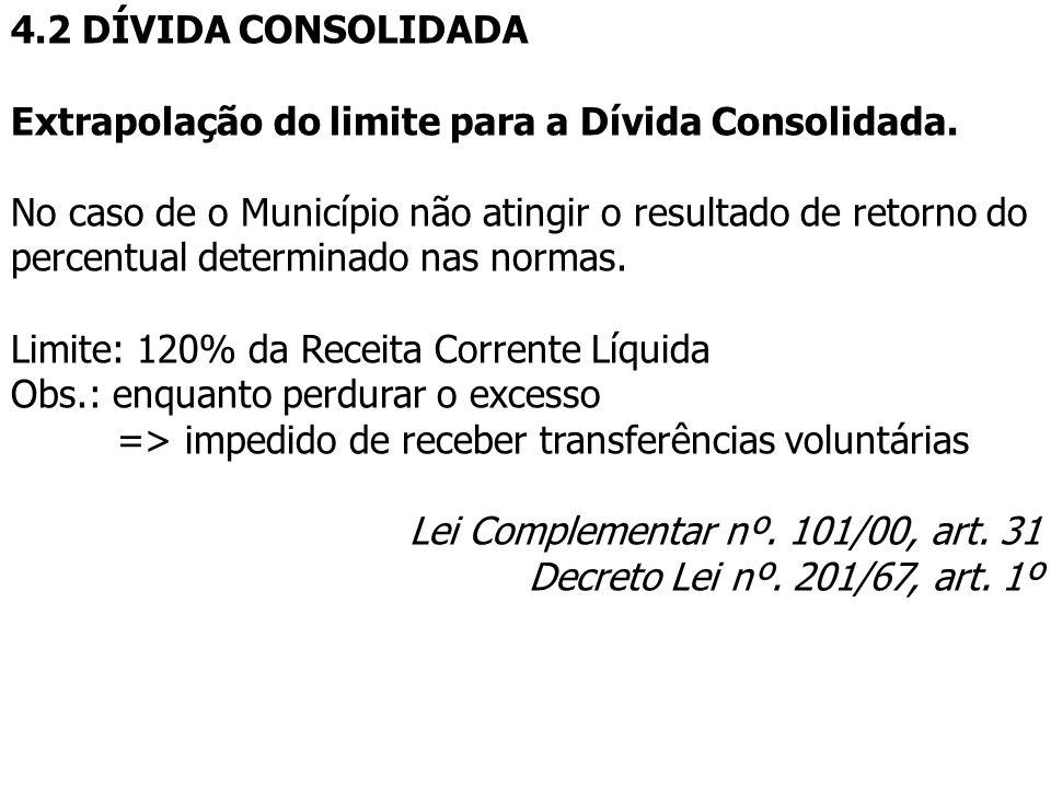 4.2 DÍVIDA CONSOLIDADA Extrapolação do limite para a Dívida Consolidada.
