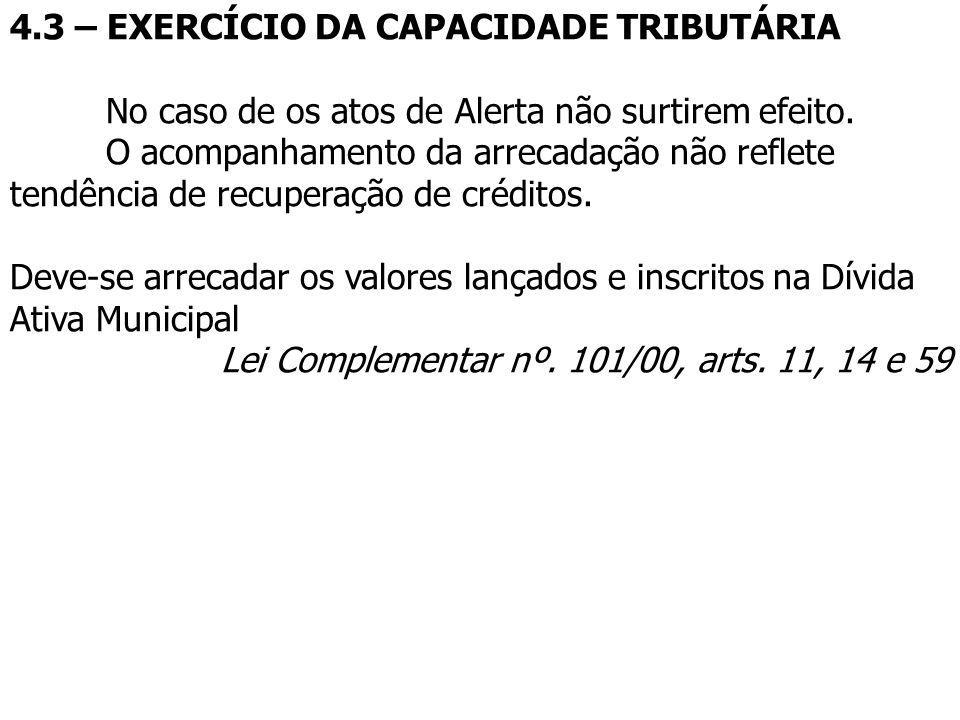 4.3 – EXERCÍCIO DA CAPACIDADE TRIBUTÁRIA