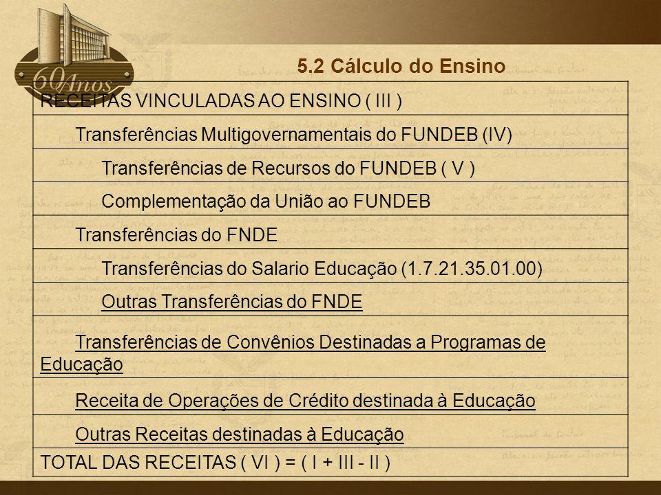 5.2 Cálculo do Ensino RECEITAS VINCULADAS AO ENSINO ( III )