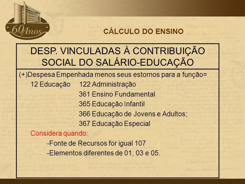 DESP. VINCULADAS À CONTRIBUIÇÃO SOCIAL DO SALÁRIO-EDUCAÇÃO