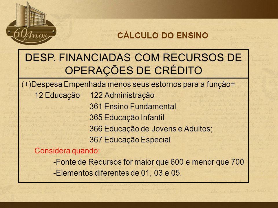 DESP. FINANCIADAS COM RECURSOS DE OPERAÇÕES DE CRÉDITO