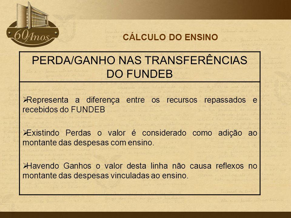 PERDA/GANHO NAS TRANSFERÊNCIAS DO FUNDEB