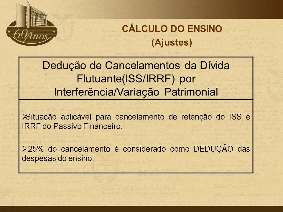 CÁLCULO DO ENSINO (Ajustes) Dedução de Cancelamentos da Dívida Flutuante(ISS/IRRF) por Interferência/Variação Patrimonial.