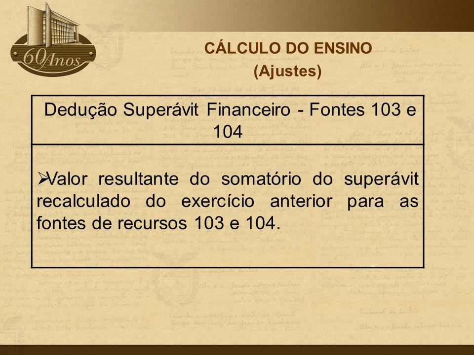 Dedução Superávit Financeiro - Fontes 103 e 104