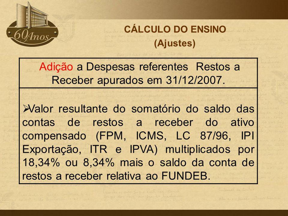 Adição a Despesas referentes Restos a Receber apurados em 31/12/2007.