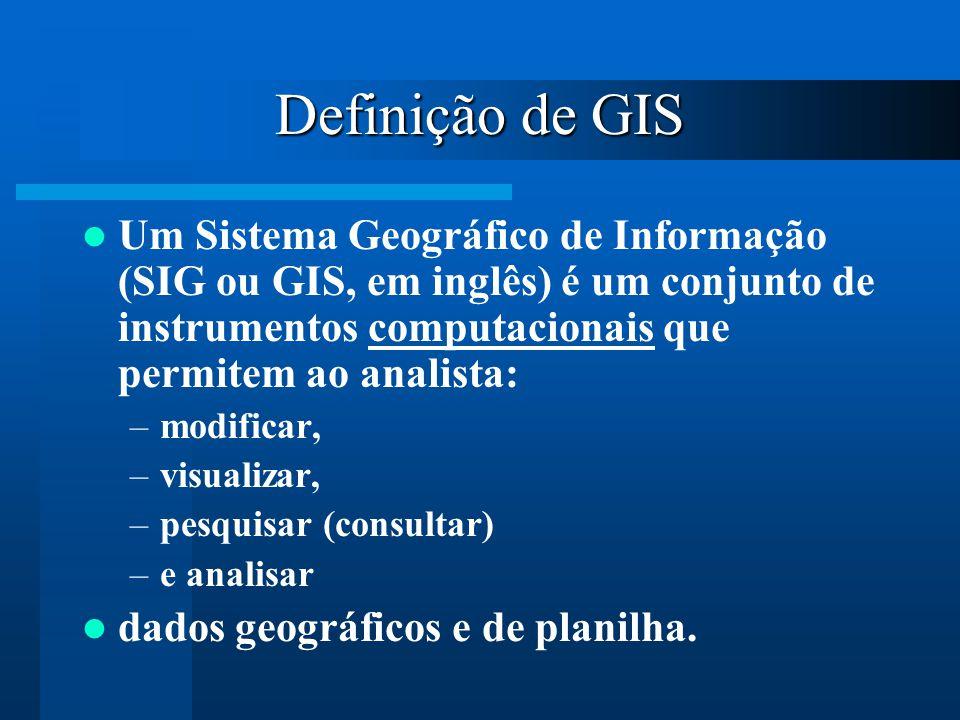 Definição de GIS Um Sistema Geográfico de Informação (SIG ou GIS, em inglês) é um conjunto de instrumentos computacionais que permitem ao analista: