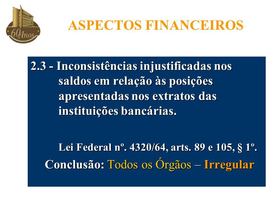 ASPECTOS FINANCEIROS 2.3 - Inconsistências injustificadas nos saldos em relação às posições apresentadas nos extratos das instituições bancárias.